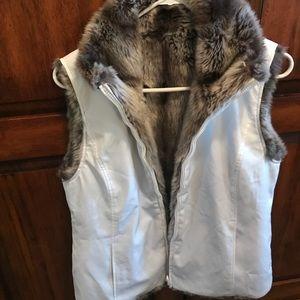 Ladies Reversible Jacket Vest Size M White/Fur